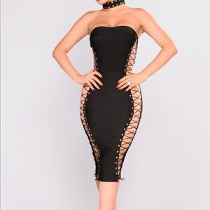 Fashion Nova Black lace up dress
